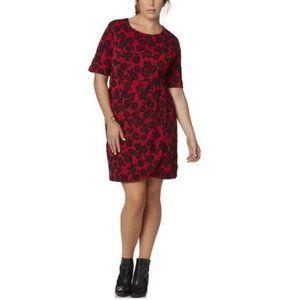 Simply Emma Red Black Rose Sheath Dress Size 3X